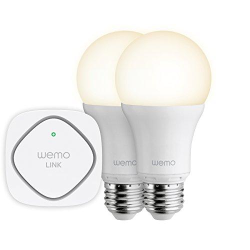 Belkin F5Z0489VF - Kit básico WeMo iluminación LED (domótica, aplicación iOS/Android, A19, Edison E27, 3000 K), color blanco