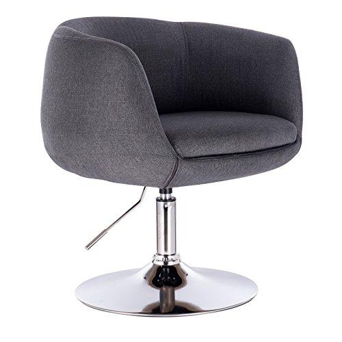 WOLTU® BH70dgr 1 x Barsessel Loungesessel mit Armlehne, stufenlose Höhenverstellung, Leinen, Dunkelgrau