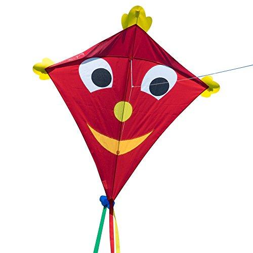CIM Großer Kinderdrachen - SUPER-DRACHEN Happy Eddy XL – Einleiner Flugdrachen für Kinder ab 6 Jahren - 102x108cm - inklusiv 80m Drachenschnur und Streifenschwänze