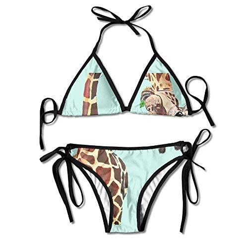 Reversible Tie Side Bikini (Funny Cartoon Giraffe Women's Tie Side Bottom Bikini Suits Two Pieces Swimwear)