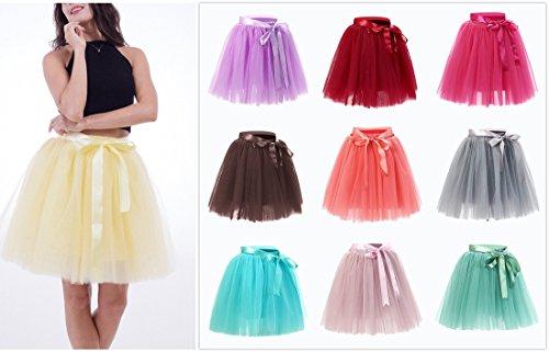 Femmes Tutu Ballet Jupe, 20 pouces en couches Organza dentelle Bubble Puffy une ligne courte et Maxi longueur Tulle Princess Petticoat pour la robe de bal Bourgogne