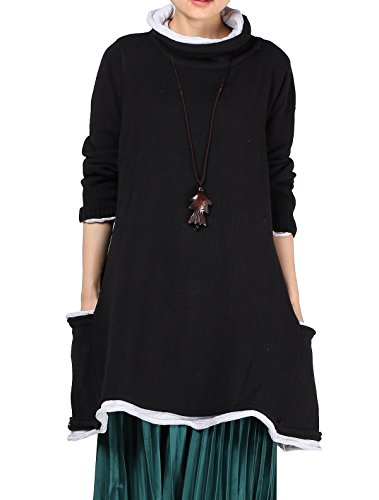 MatchLife Femme Pull-over Manches Longues Chandail Pull Robe Black