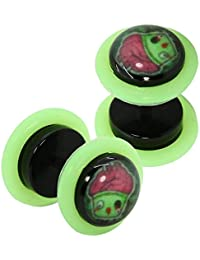 tumundo 2 Faux Plug Tunnel Piercing Boucles Clous d'Oreille Cupcake Monstre-Muffin Fakeplugs 10mm Noir Neon Vert