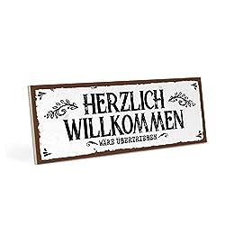 ARTFAVES Holzschild mit Spruch - HERZLICH WILLKOMMEN - Vintage Shabby Deko-Wandbild/Türschild