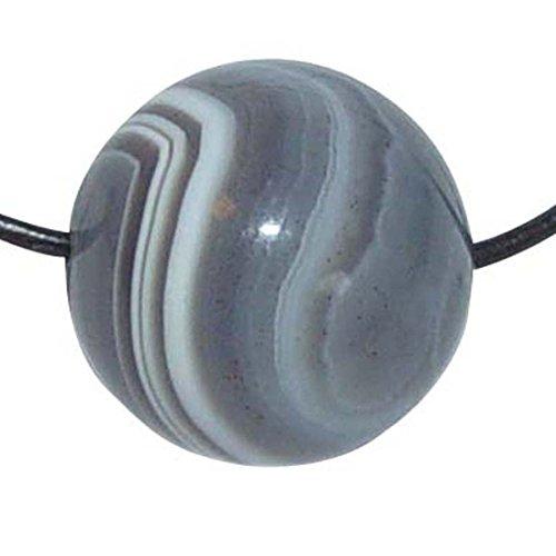 Botswana Achat Anhänger Kugel 16mm gebohrt Bohrung der Kugel ca. 1 mm mit braunem Lederband 100 cm lang Stärke 1mm.(3135)