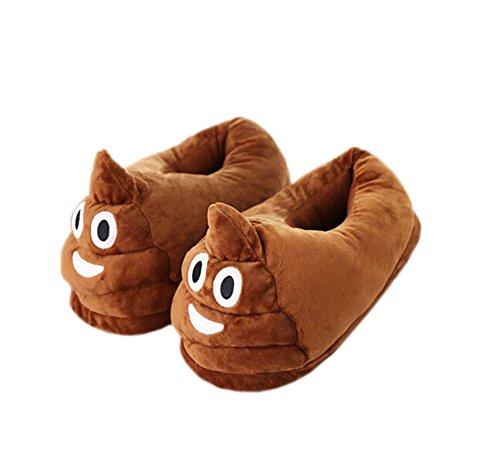 Magicmode Unisex Adult Cartoon Emoji Winter Warm Weichem Plüsch Home Hausschuhe Kostüm Schuhe Poo