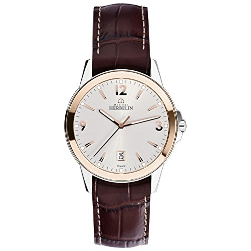 Michel Herbelin Ambassade Brown Silver Men 'S Watch 4s 12250/TR12MA