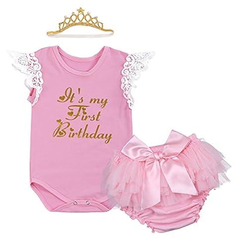 Nouveau-né Bébé Enfants Bambin Filles 1er Anniversaire Costume de Photographie Barboteuse Tutu Bloomers Set avec Bandeau 3 Pièces Tenues Ensemble Rose 6-12 Mois