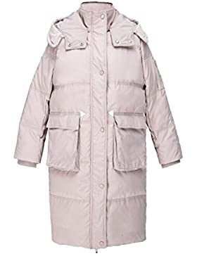 lime Moda Cómoda chaqueta de bolsillo recto hacia abajo Invierno cálido Mujer a prueba de viento hacia abajo abrigo...