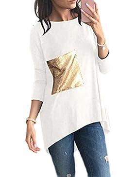 Las Mujeres Casual Camiseta Con Lentejuelas De Alta Bajo Camisetas Patchwork