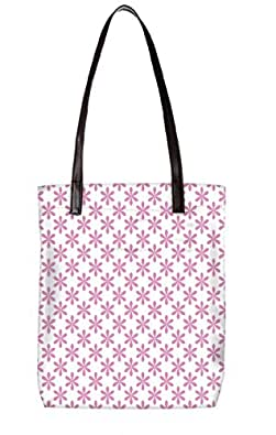Snoogg Pink Leaves Womens Digitally Printed Utility Tote Bag Handbag Made Of Poly Canvas With Leather Handle