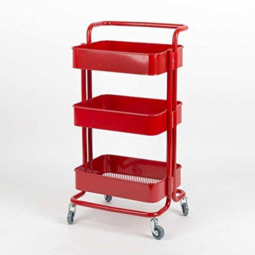 Bins Regal Teiler Für Schränke Lagerregal Aufbewahrungsbox Mobil Trolley Regal Metall Küche Regale Mit Rad,rot ()