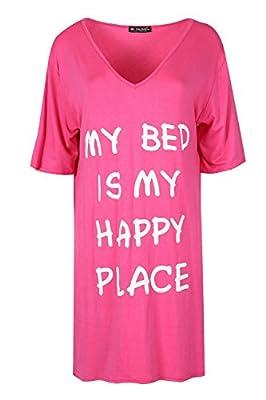 Be Jealous Womens Plain V Neck Oversized My Bed Is My Happy Place Baggy PJ Dress Uk Size 8-26 - low-cost UK light store.