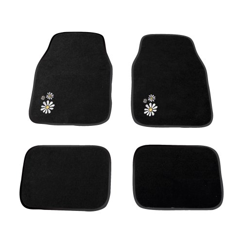 Carpoint 0318163 Daisy - Alfombras para coche (4 unidades), color negro con...