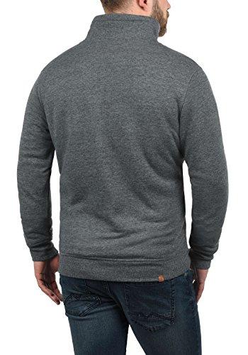 BLEND Tedius Herren Sweatshirt Pullover Troyer mit Teddy-Futter und Stehkragen aus hochwertiger Baumwollmischung Meliert Pewter Mix (70817)