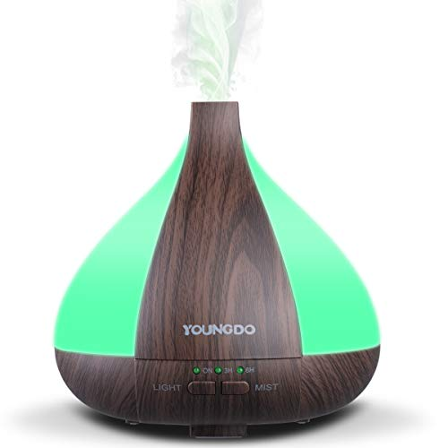 YOUNGDO Aroma Diffuser 220ML, Ultra Leise Humidifier, 7 Farben LED Duftlampe, Diffusor Aromatherapie, Luftbefeuchter mit Timer, BPA-Free, Ultraschall Vernebler für Schlafzimmer, Büro