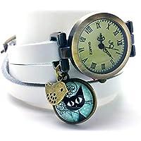 """montre bracelet en cuir blanc,""""Le chaton aux pois"""", montre 3 tours de poignet, montre breloques et cabochon vintage - cadeau noel, cadeau (ref.50) FBA"""