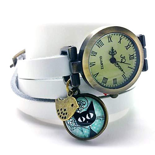 montre bracelet en cuir blanc,'Le chaton aux pois', montre 3 tours de poignet, montre breloques et cabochon vintage - cadeau noel, cadeau (ref.50) FBA