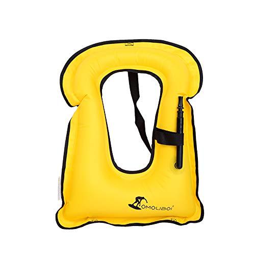 OMOUBOI Gonfiabile Portatile Gilet Galleggiante per Adulti,Floatage Vest,Nuoto, Boccaglio, Nuoto. Surf, Immersioni, Canottaggio, Kayak, Canyoning (Yellow)