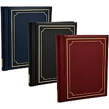 Arpan pack de 3 albums photo autoadhésifs Arpan totalisant 60 feuilles 120 faces (noir / bleu / rouge) ...