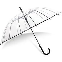 JCRNJSB® Paraguas transparentes, Automático Long Handle Comercio Mujeres Hombres Windproof Rain Student Fácil de