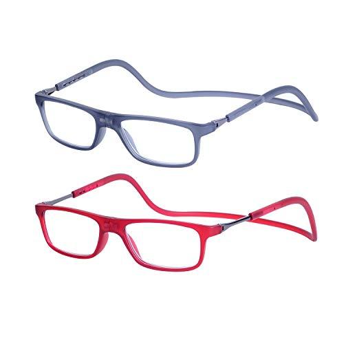 9242cc1fbe 2-Pack Gafas de Lectura Magnéticas Plegables para Hombre y Mujer +3.0 (65