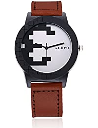 naivo Men's Quartz Stainless Steel and Gold Plated Watch, Color:Burgundy (Model: 1)