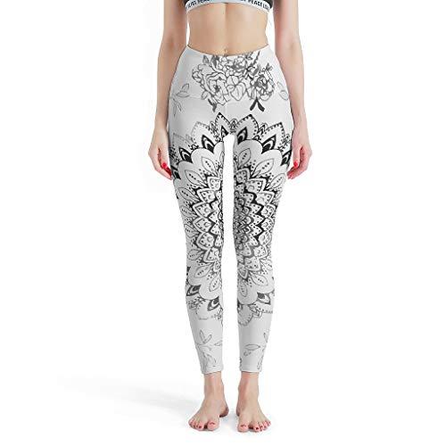 RQPPY Boho Blooms Mandala Sport-Leggings Active Leggings für Yoga White 3XL