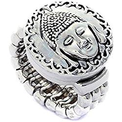 Morella mujer Click-Button anillo y Click-Button pulsador Buda