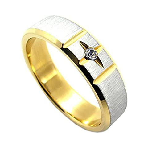 KONOV Schmuck Herren-Ring, Damen-Ring, Edelstahl Zirkonia Diamant, Stern Zweifarbig, Gold