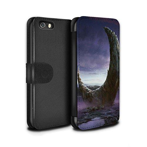 Offiziell Chris Cold PU-Leder Hülle/Case/Tasche/Cover für Apple iPhone 5/5S / Pack 12pcs Muster / Fremden Welt Kosmos Kollektion Zerbrochenen Mond