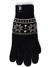 Mens Heat Holder Heatweaver Thermal Winter Warm Fairisle Gloves TOG 2.3 Charcoal / Black / Grey