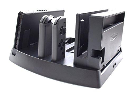 Hikfly 5 in 1 Multifunktions-Charing Speicher Dock mit LED-Anzeige für Nintendo Switch (2017 Release) einschließlich 2 Ladegerät für Left & Right Joycon 2 Ladegerät für Switch Pro-Controller und 1 La