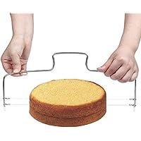 Ruix profesional cortador de pasteles, doble para tartas de acero inoxidable cortador de alambre de corte para tartas, color plateado