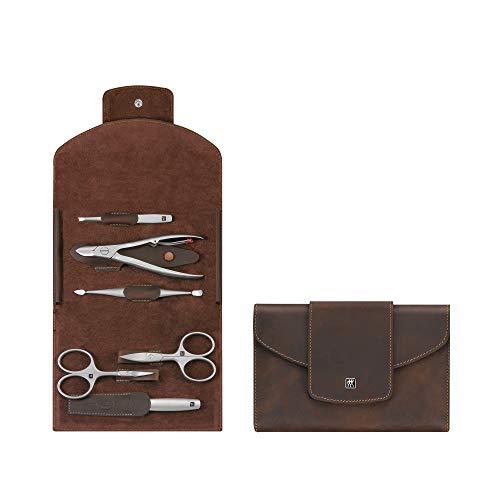 ZWILLING Twinox Etui Maniküre Pediküre Nagel-Set 6-tlg. Pflege Hände Füße Rindleder Druckknopf braun 97408-007-0 -