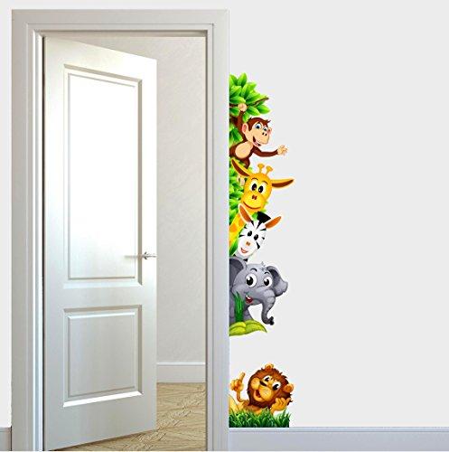 Adesivi murali bambini animali della savana che si affacciano per porte cameretta fantasy - Adesivi per muro cameretta ...