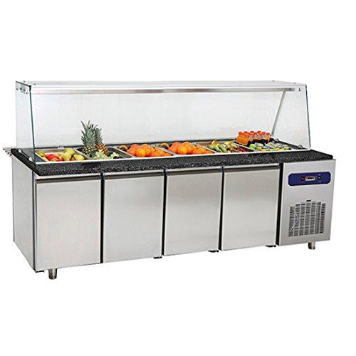 Banco preparazione refrigerato con vetro,vasca refrigerata 6x GN 1/1 h=100 mm