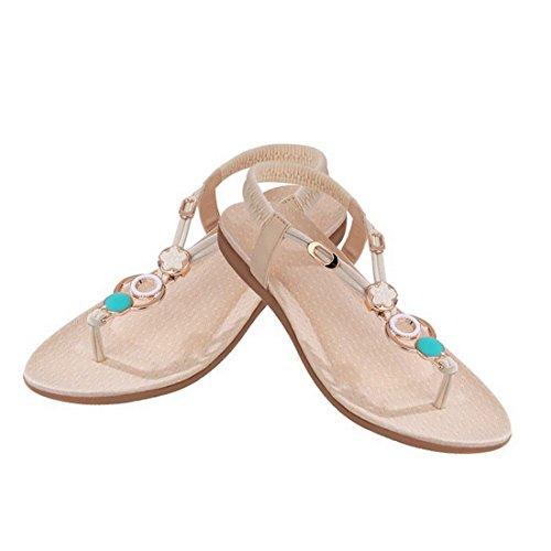 Vertvie Damen Sommer Schuhe Strandschuhe Offene T-Spangen Sandalen Knöchelriemchen Sandalen mit Strass Zehentrenner Flip Flop Hausschuhe Beige 1