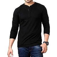 LAZYCHUNKS Men's Cotton Full Sleeve Henley Neck Plain Tshirt_Black_Medium