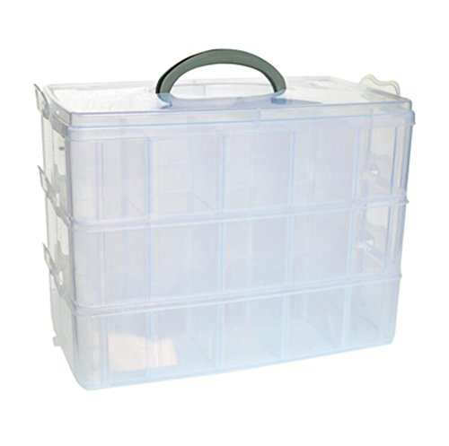 djunxyan-3-tier-30-sections-transparent-stackable-adjustable-compartment-slot-plastic-craft-storage-