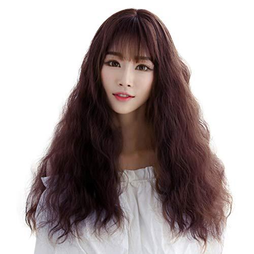 Battnot Haarteil für Damen Schwarzes Mode Japanische Weibliche Lange Lockiges Haar Pony Perücken Hochtemperaturdraht Keine Spitze Volle Party, Frauen Haarperücken (68 cm / 26,7 Zoll, Kaffee)