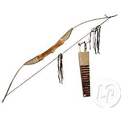 Lote / Conjunto de 3 piezas - arco de madera, flecha aljaba y fácil