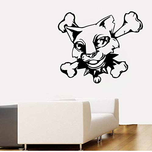 Lustige katze schädel knochen dekorative wandaufkleber aufkleber pvc grafik 54x45,8 cm - Schädel Knochen-grafik