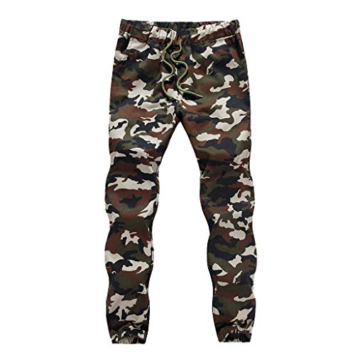 Ginli Pantaloni Uomo,Pantaloni da Lavoro Uomo,Jogger Stampato Pantaloni Sportivi Elastici Mimetici Slim Fit Cargo Pantalone da Cintura