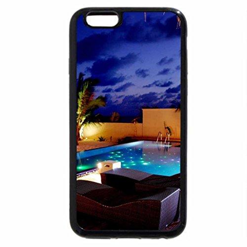 iPhone 3S/iPhone 6Coque (Noir) piscine avec lumières la nuit