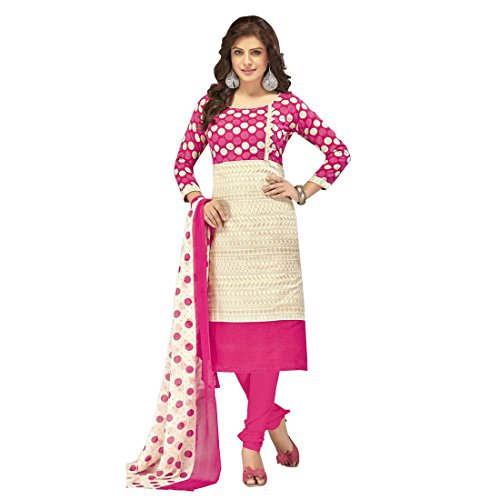 The Style Pure Cotton White and Pink Color Printed Salwar Kameez Dress...