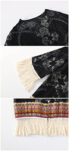 Femme Gilet Kimono Cardigan Été Floral Plage avec Frange Sexy Imprimé Chic Manche 3/4 Veste Manteaux Été Bohème Monissy Noir