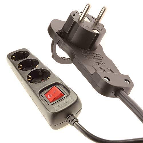 REGLETA DE ENCHUFES de 4smile | Enchufe de 3 tomas | Enchufe múltiple con interruptor y REV Flat Plug_0012326114 | Bloqueo para niños | Cable de 2m | Para uso interno | Negro