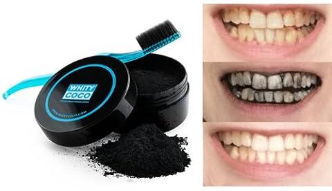 Whity Coco Aktivkohle Zahnpolitur 30g + Zahnbürste mit Bambus Borsten, Zahnaufheller für natürlich weiße Zähne Zahn Bleaching, frischer Atem, helle Zähne natürliche Zahnaufhellung, aktiv Kohle, von