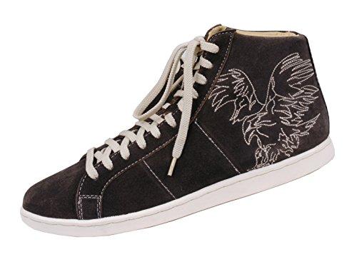 Erstklassige Trachten Sneaker Herren - Trachtenschuh Wild-Leder Braun/Dunkelbraun - Top-Qualität
